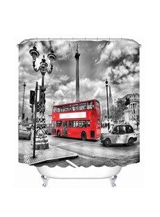 British Style Red Bus 3D Printed Bathroom Waterproof Shower Curtain