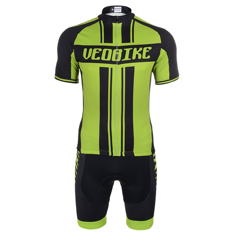 Men's Cycling Clothing Set Breathable Quick Dry Jersey Glitter Green