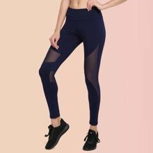 Vutru Sports Leggings mit breitem Taillenband und Netzeinsatz