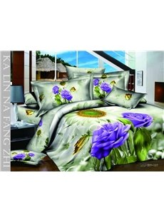 3D Purple Rose and Sunflower Printed Cotton 4-Piece Bedding Sets/Duvet Covers