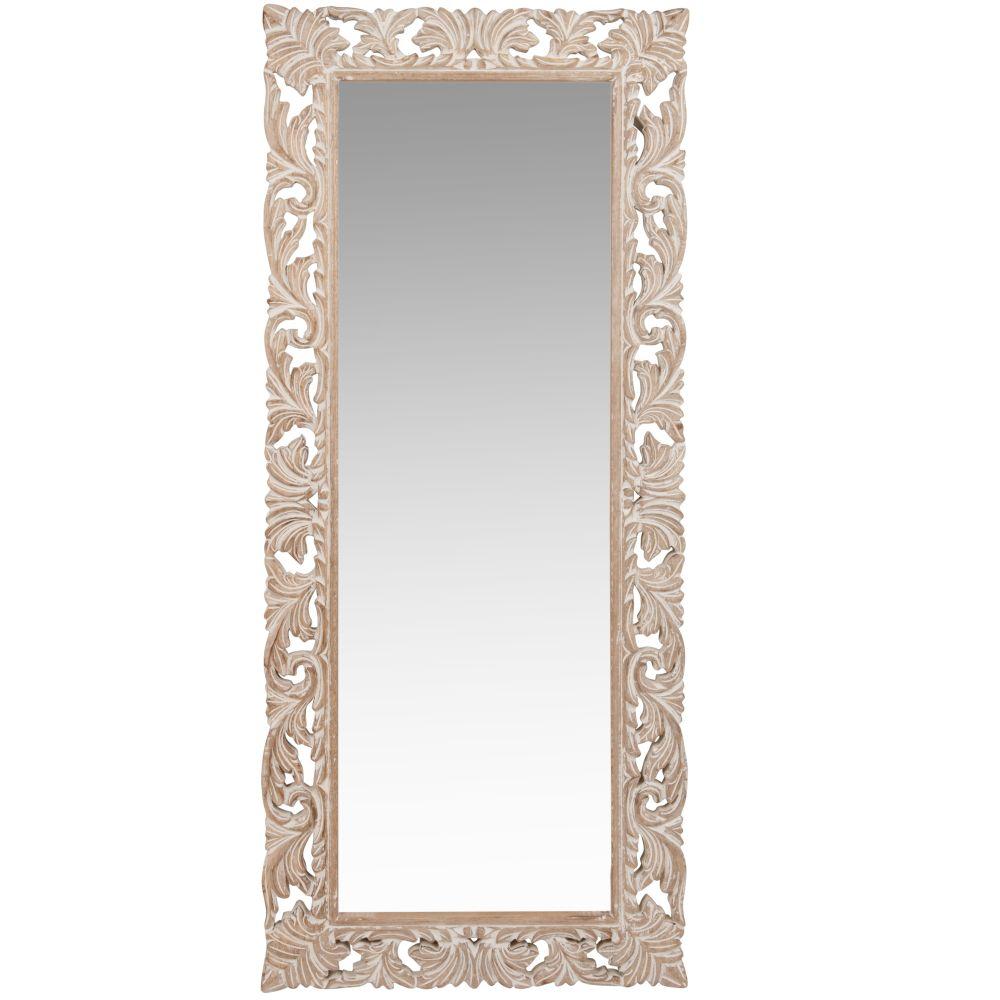 Spiegel mit geschnitztem Mangoholzrahmen 54x130