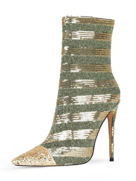 Milanoo Women Ankle Boots Sequined Green Stripes Pointed Toe Stiletto Heel High Heel Boots