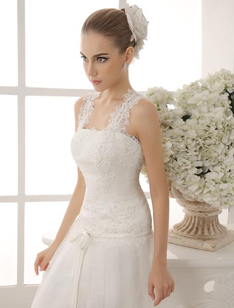 Milanoo Beaded Square Neck Wedding Dress With Spaghetti Straps