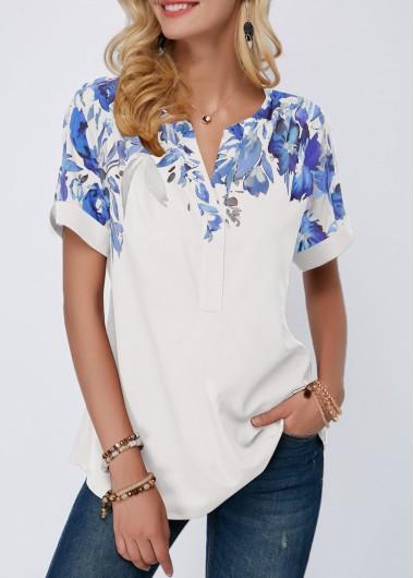 Rosewe Women Blouse White Printed Tunic Split Neck - M