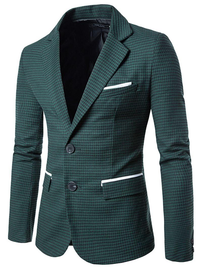 Mens Clothing Plaid Notched Lapel Slim Mens Casual Blazer