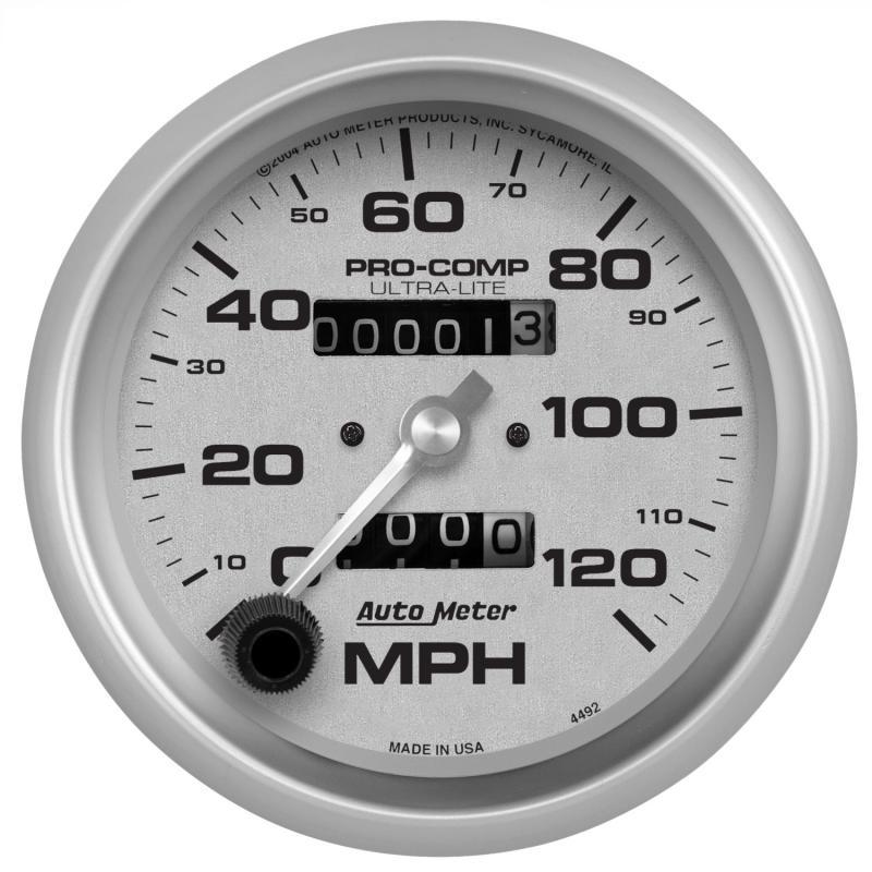 AutoMeter GAUGE; SPEEDOMETER; 3 3/8in.; 120MPH; MECHANICAL; ULTRA-LITE