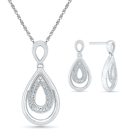 Genuine White Diamond Sterling Silver 2-pc. Jewelry Set, One Size , No Color Family