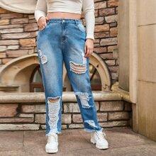 Jeans mit Waschung, Riss und geradem Beinschnitt