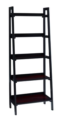 64019BLKCHY01KDU Camden Collection Bookcase with 5 Storage/Display Shelves  Transitional Style and Medium-Density Fiberboard (MDF) in Black Cherry