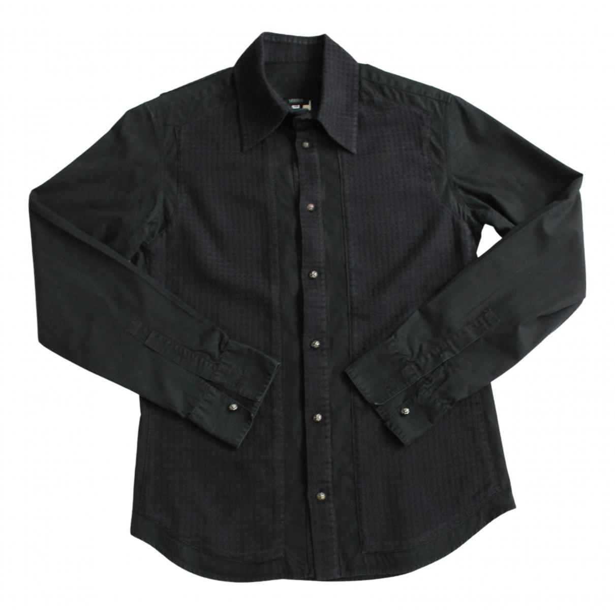 Versus - Chemises   pour homme en coton - noir