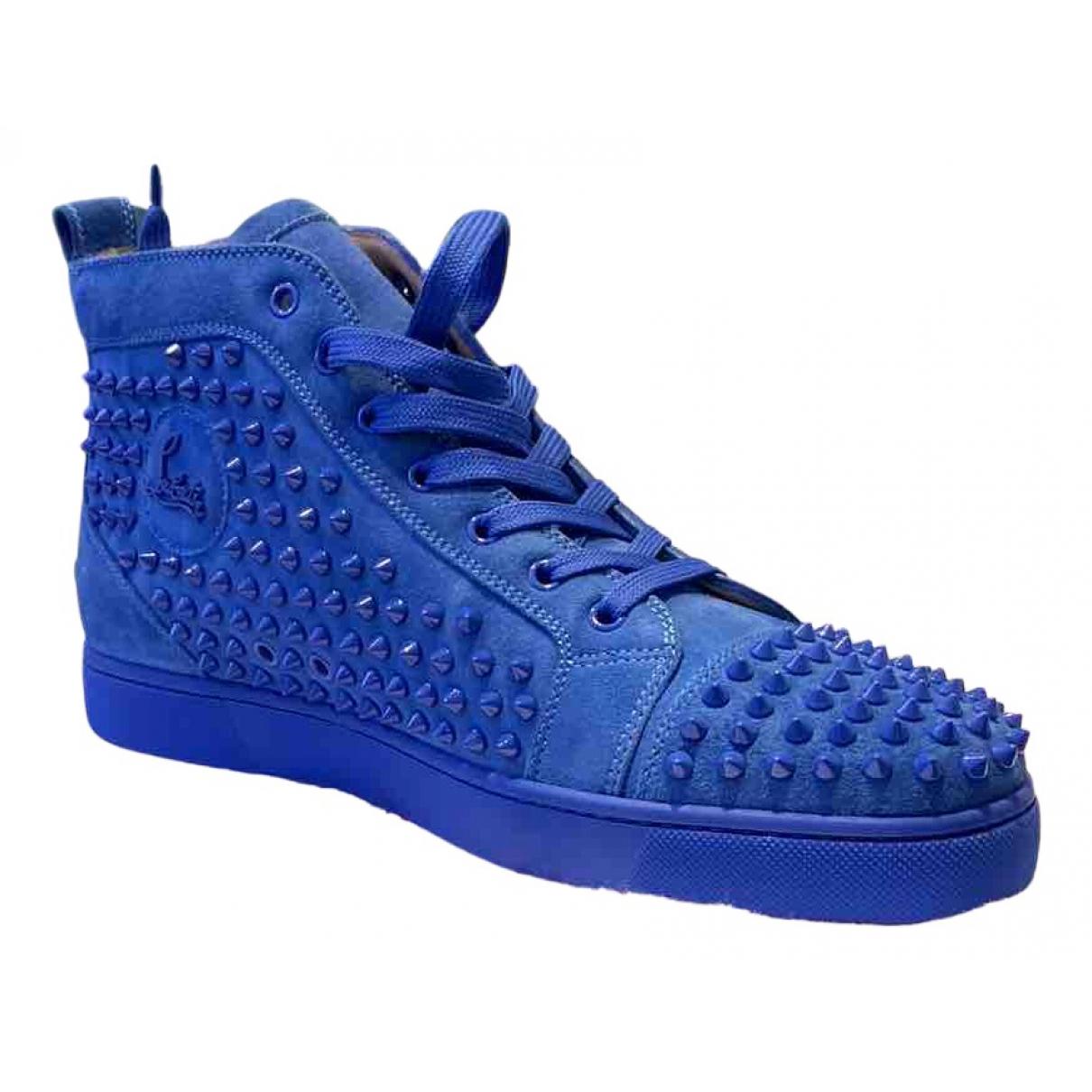 Christian Louboutin Louis Sneakers in  Blau Veloursleder