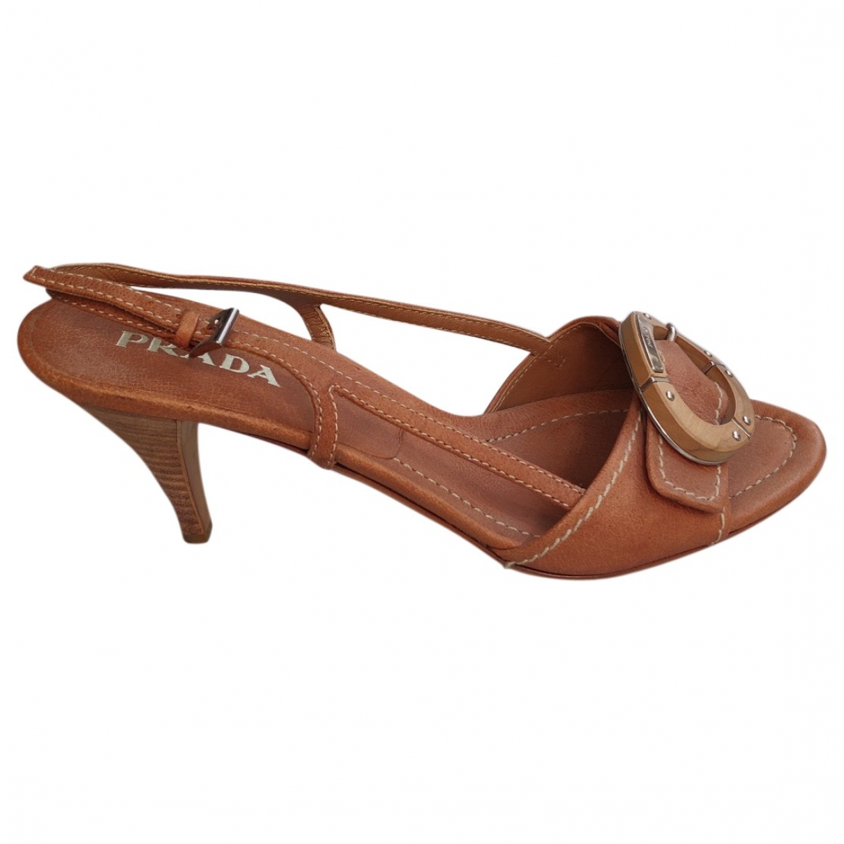 Prada \N Camel Leather Sandals for Women 37.5 EU