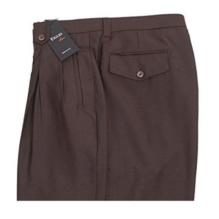 Brown Mens Tabbed Belt Loops Pure Wool Wide Leg Dress Pants