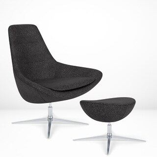 Astro Lounge Chair with Ottoman - Recline, 360 Swivel, New Zealand Wool (Dark Grey)