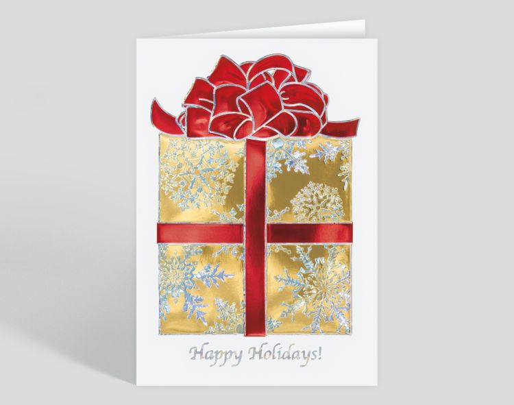 Silver Prismatic Border on Blue Merry Christmas Custom Photo Mount - Vertical Card - Greeting Cards