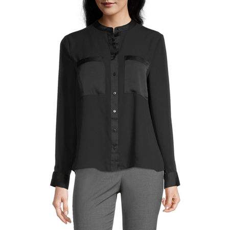 Worthington Womens Button Front Contrast Pocket Blouse, Petite X-large , Black