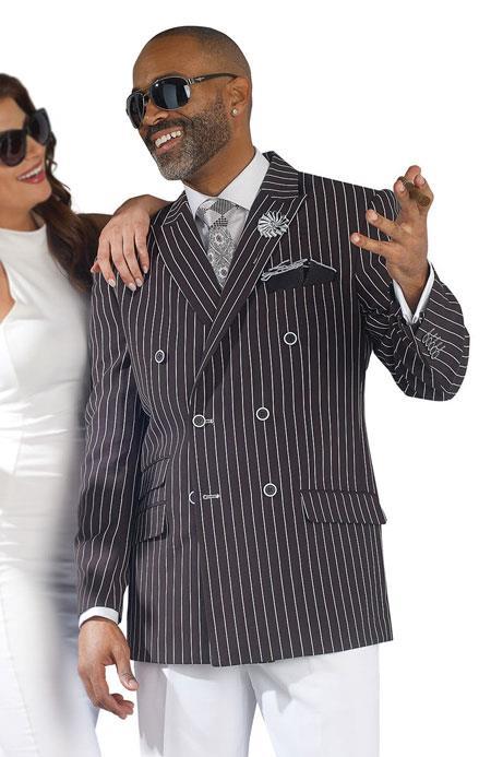~ Stripe Black Double Breasted Blazer Sport Coat Jacket For Men