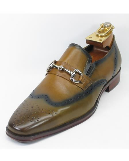 Men's Fashionable Two Toned Tan Slip On Style Shoes