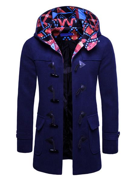 Milanoo Men Duffle Coat Hooded Wool Coat Print Pocket Long Sleeve Casual Winter Overcoat