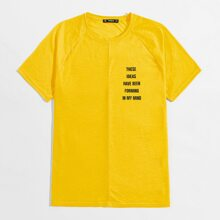 Men Raglan Sleeve Slogan Graphic Tee