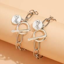 2pcs Coin Toggle Clasp Bracelet