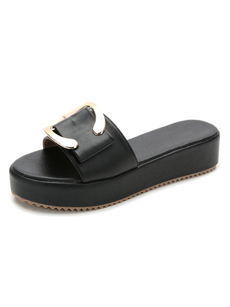 Milanoo Green Sandal Slippers Women's Buckle Detail Flatform Slide Shoes