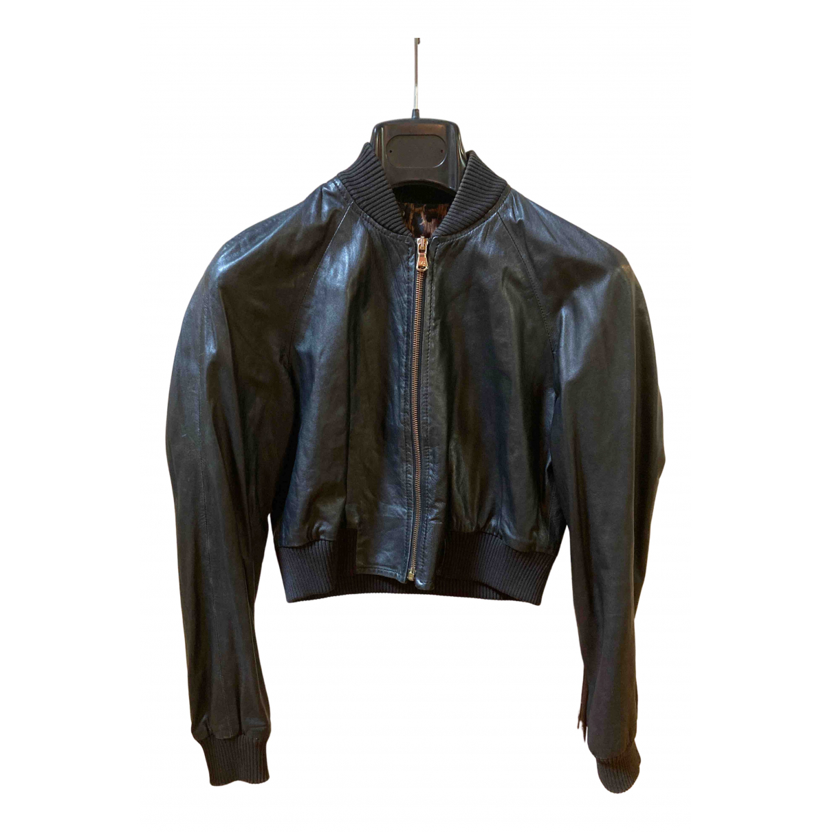 Dolce & Gabbana N Black Leather Leather jacket for Women 40 IT