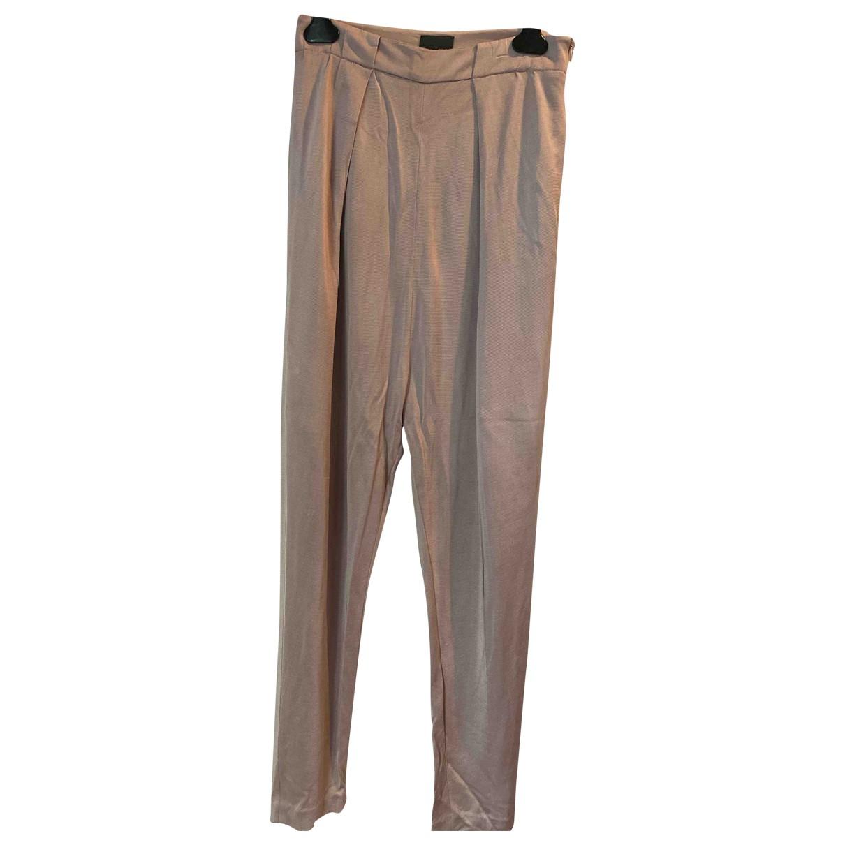 Fendi \N Pink Silk Trousers for Women 40 IT