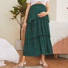 Maternity Layered Ruffle Polka Dot Skirt