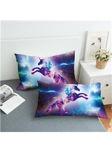A Leaping Unicorn In The Purple Galaxy Reactive Printing 2-Piece Polyester Pillowcase