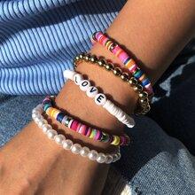 5 piezas pulsera con cuenta con perla artificial