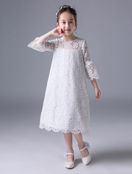 Milanoo Vestidos de niña de las flores de Boho Verano Ivory Lace Bell Manga de te Vestido de oscilacion de los niños