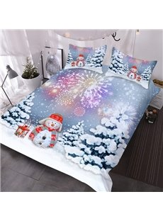 Christmas Themed 3D Snowman Comforter 3-Piece Soft Comforter Sets with 2 Pillowcases