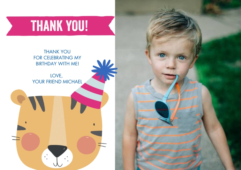 Thank You Cards 5x7 Cards, Premium Cardstock 120lb with Elegant Corners, Card & Stationery -Thank You Tiger Hat by Tumbalina