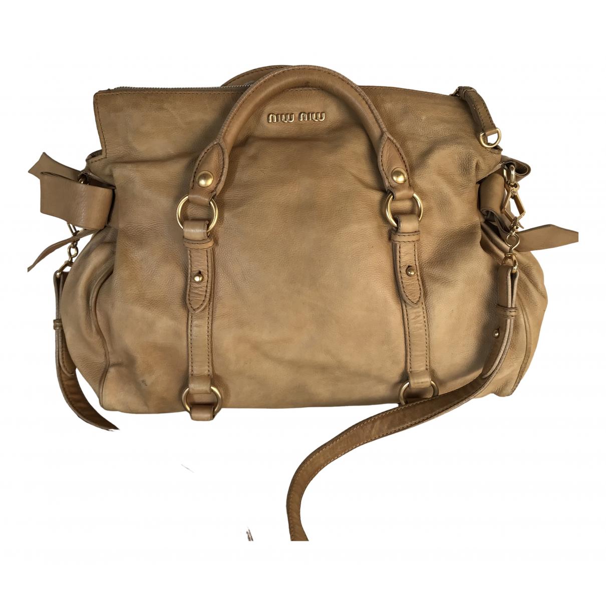 Miu Miu Bow bag Beige Leather handbag for Women \N