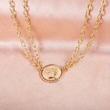 Figure Coin Pendant Chain Necklace