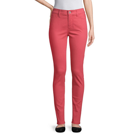 St. John's Bay Womens Mid Rise Skinny Fit Jean, 2 , Red