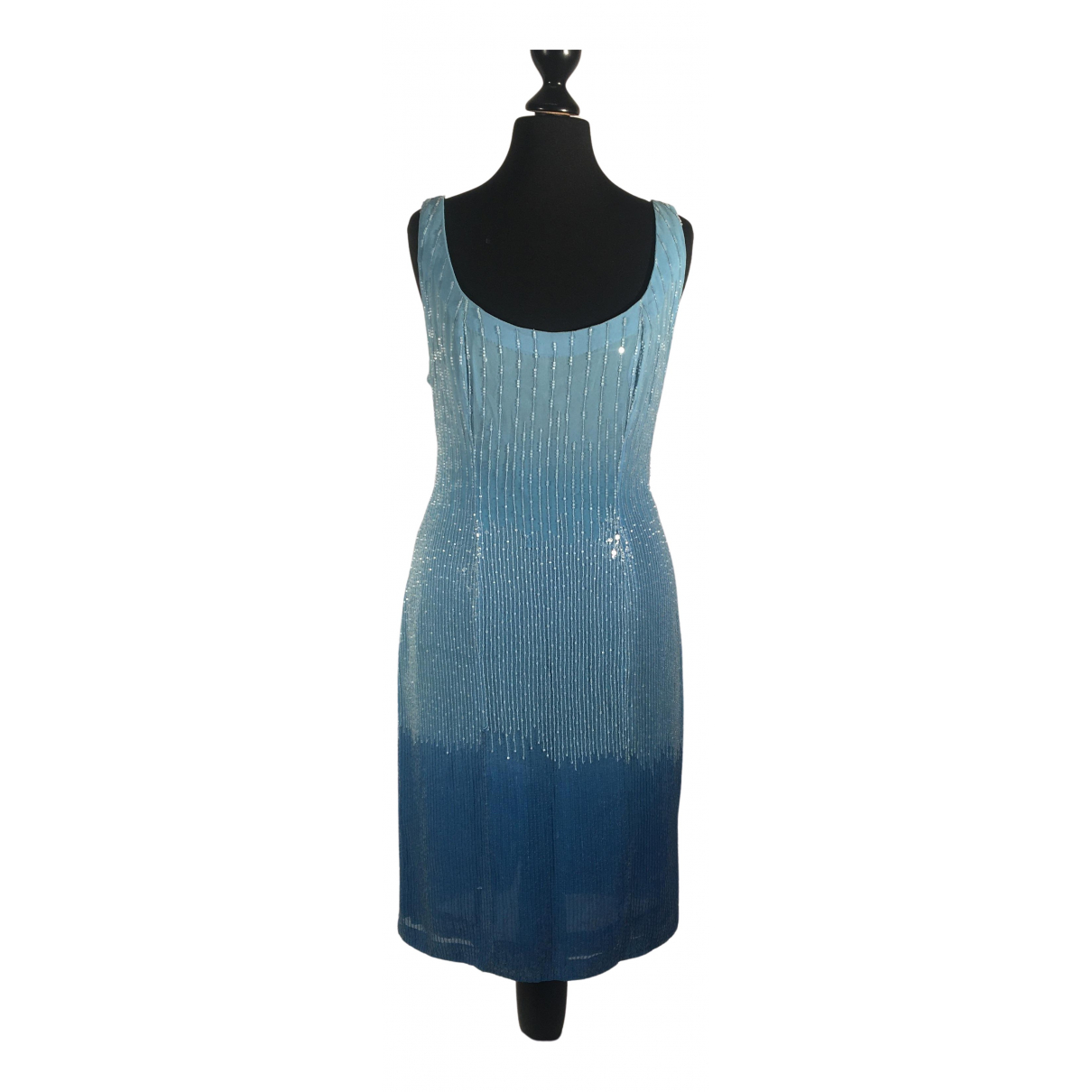 Ella Singh \N Kleid in  Blau Seide