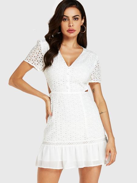 YOINS White Embroidered V-neck Hollow Design Flounced Hem Dress