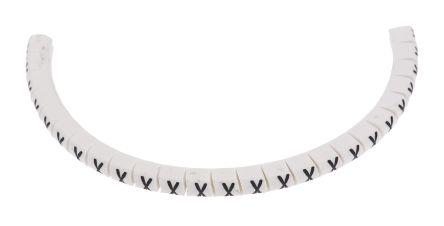 HellermannTyton Helagrip Slide On Cable Marker, Pre-printed X Black on White 1 → 3mm Dia. Range