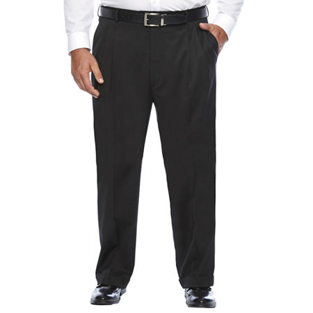 Stafford Travel Wool Blend Stretch Pleated Pants Big and Tall, 46 32, Black