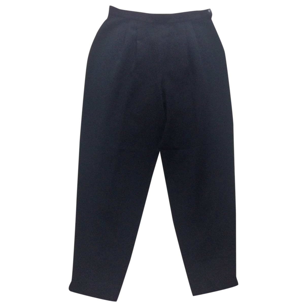 Non Signé / Unsigned \N Black Wool Trousers for Women 42 FR