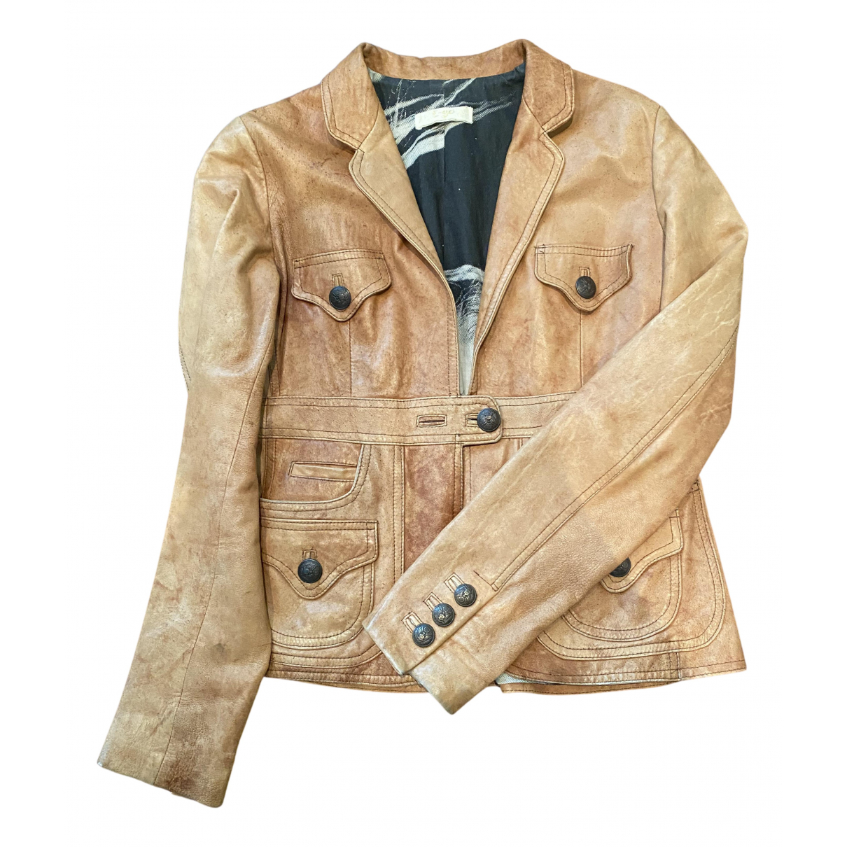 Non Signé / Unsigned N Camel Leather jacket for Women L International