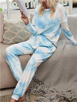 Casual Lace-Up Blue Gradient Long Sleeve Women's Pajama Suit