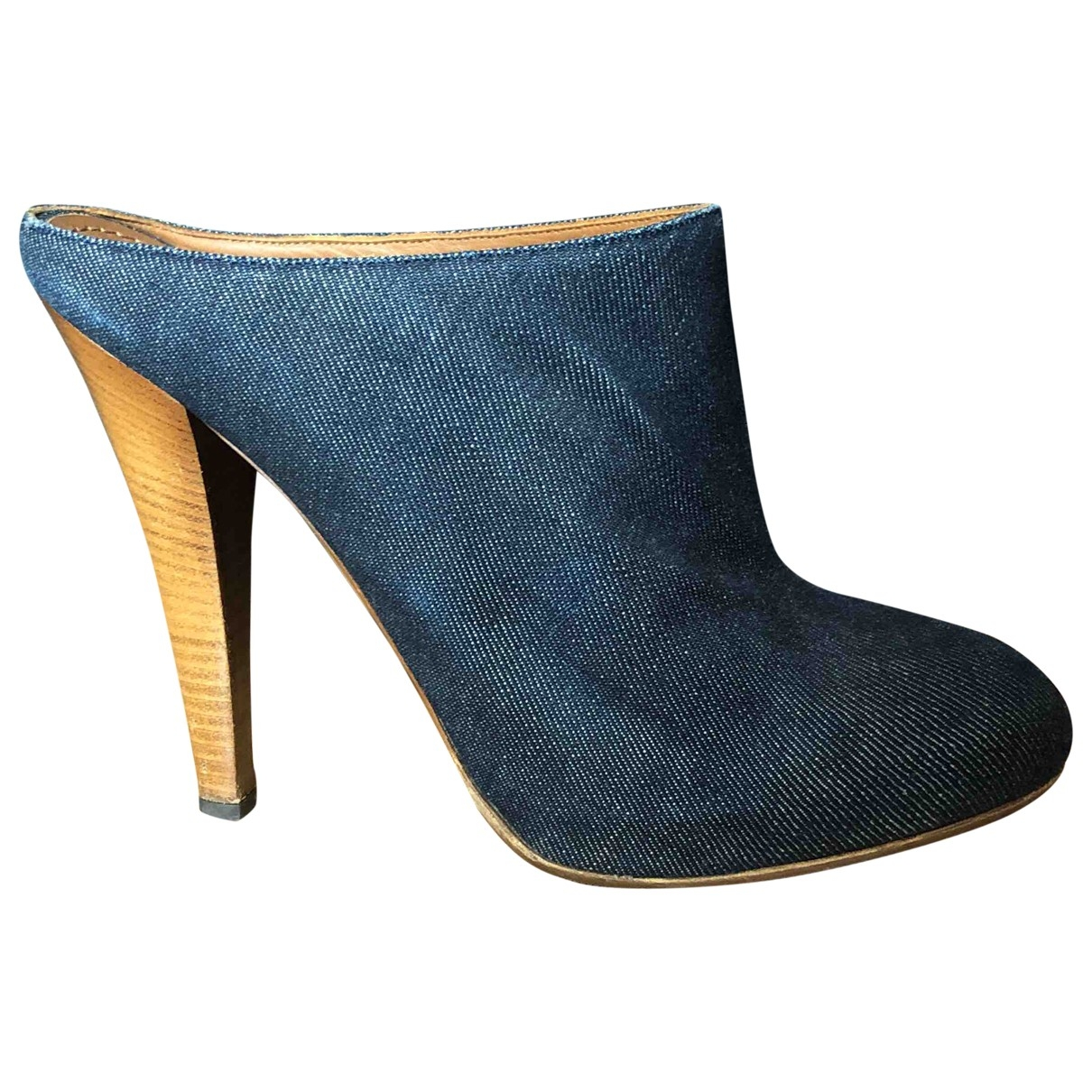 Yves Saint Laurent \N Stiefeletten in  Blau Leinen