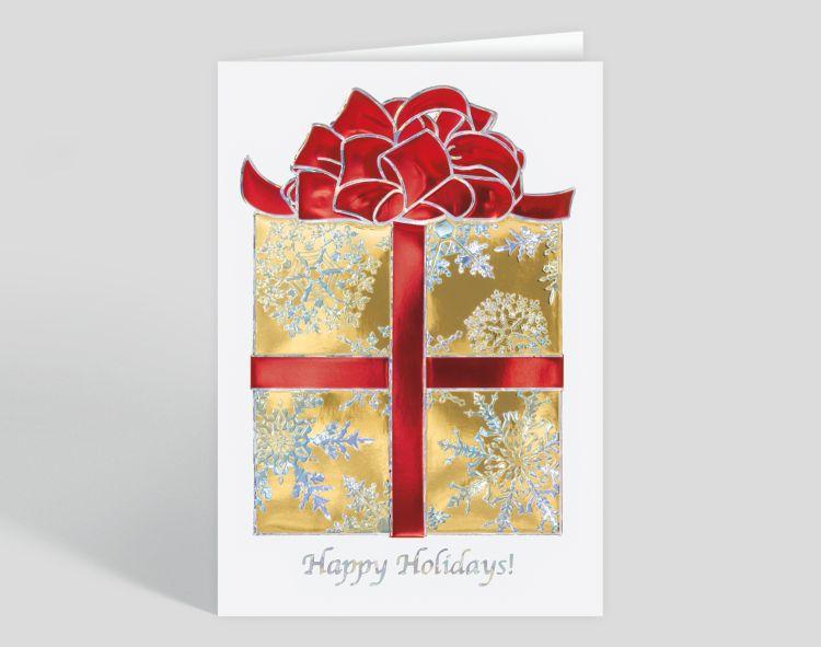 Stars and Stripes Ribbon Holiday Card - Greeting Cards