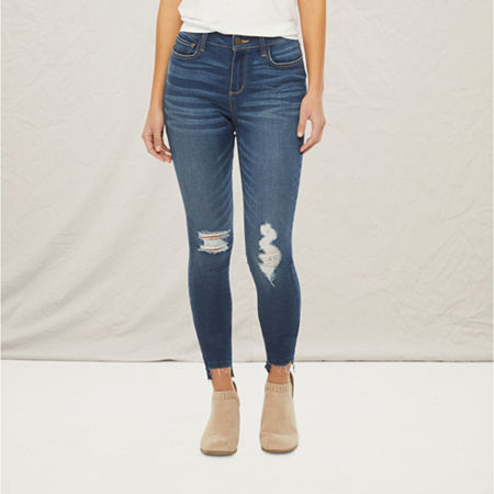 a.n.a Womens High Rise Ripped Jegging, 8 , Blue