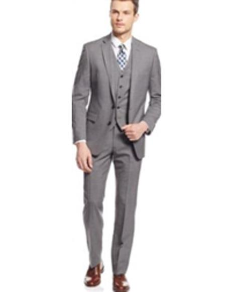Mens Two Button Single Breasted Light Grey Suit