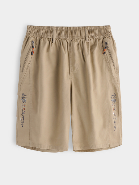 Yoins Khaki Cotton Side Print Zipper Slant Pocket Stretch Waistband Men's Shorts