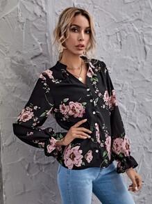 Flounce Sleeve Floral Print Blouse